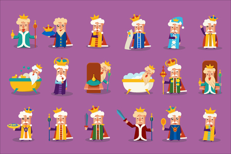 Funny king character posing in different situations set, old imperior showing various emotions vector Illustrations, web design