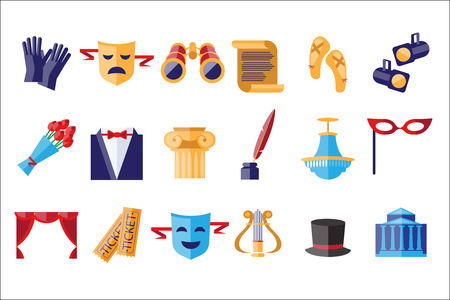 Theatre icons set, theatrical acting performance elements vector Illustrations isolated on a white background.