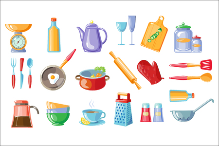 Cooking icons set, kitchen utensils with scales , frying pan, pot, teapot, grater, colander vector Illustrations isolated on a white background.