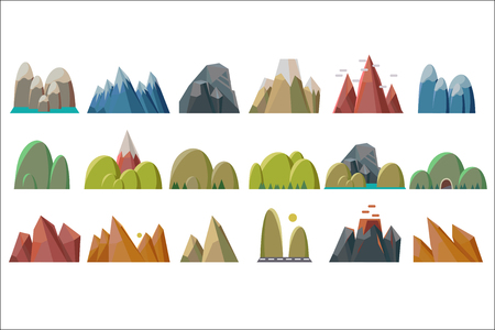 Nature mountains set, variety of mountain massif vector Illustrations isolated on a white background. Иллюстрация