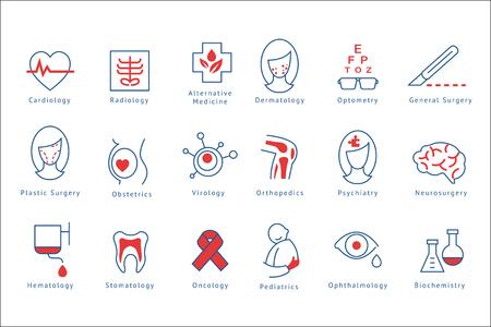 Ziekenhuisafdelingen pictogrammen instellen vectorillustraties geïsoleerd op een witte achtergrond. Vector Illustratie