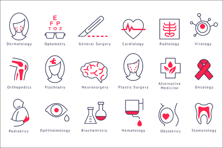 Different hospital department icons set vector Illustrations isolated on a white background.