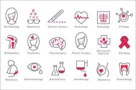 Los diferentes iconos del departamento del hospital establecen ilustraciones de vectores aislados sobre un fondo blanco.