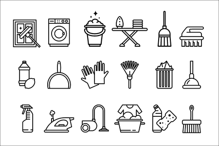 Cleaning icons set, washing machine, ironing, gloves, sponge, mop, vacuum cleaner, shovel and other cleaning elements line vector Illustrations isolated on a white background. Illustration