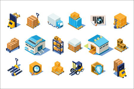 Warehouse icons set, storage equipment, warehouse building, forklift, storage racks, pallets with goods vector Illustrations isolated on a white background.