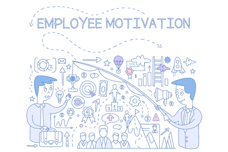 Employee motivation concept, success and achieving career goals, design element for banner, poster hand drawn vector Illustration, web design