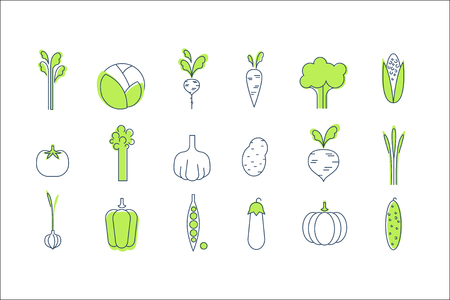 Vegetable icons set, healthy vegetarian food vector Illustrations isolated on a white background.