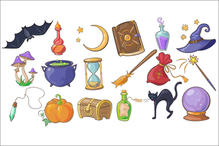 Halloween, magic and spell signs set