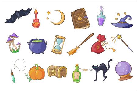 Halloween magic signs set, wizard hat