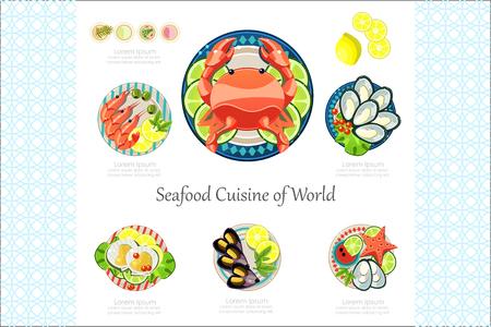 世界のバナーやポスターベクターイラストのシーフード料理  イラスト・ベクター素材
