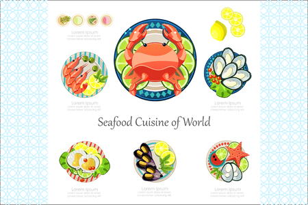 Seafood Cuisine of World banner or poster vector Illustration