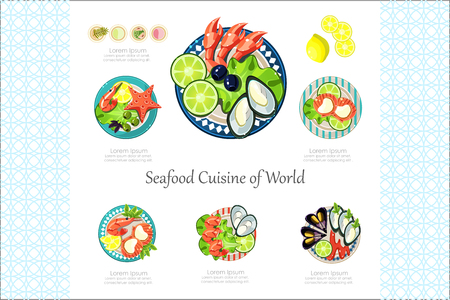 Seafood Cuisine of World banner or poster vector Illustration isolated on a white background. Vettoriali