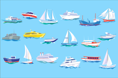 바다 선박, 보트 및 요트 세트, 바다 또는 해양 운송 개념 벡터 일러스트 플랫 스타일, 웹 디자인 일러스트