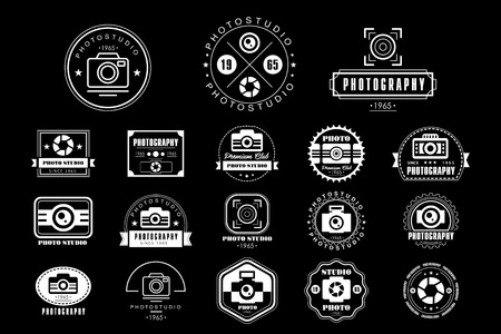 Collection of photography logo templates, photo studio vintage badges vector Illustrations Фото со стока - 99996043