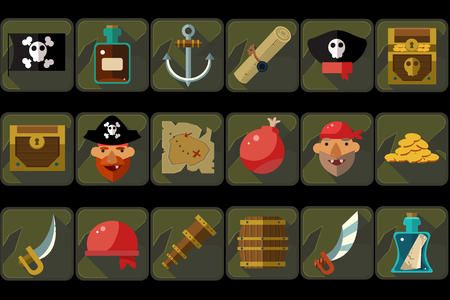Pirate icons set, ancient travel and adventure devices, treasure hunting, details for computers game interface vector Illustrations
