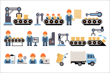 Industrial manufacturing conveyor line with packaging equipment and factory workers set vector Illustrations on a white background