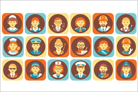 Profession people icons set, professional human occupation avatars vector Illustrations Illustration