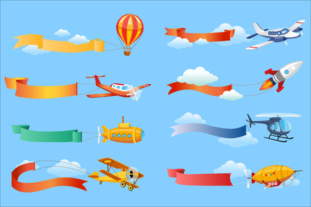 Air vehicles with horizontal banners set, helicopter, airplane, biplane, airship with ribbons vector Illustrations Vettoriali