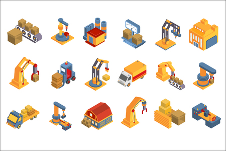 Logistic, warehouse set, shipping service, delivery and cargo transportation, industry freight vector Illustrations on a white background