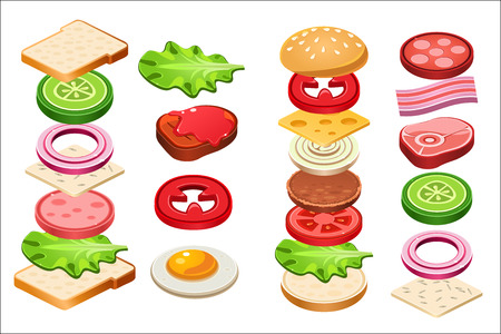 Burger and sandwich ingredients set.