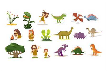 Prehistoric stone age elements set, primitive people, dinosaurs, plants cartoon vector Illustrations isolated on a white background. Illustration