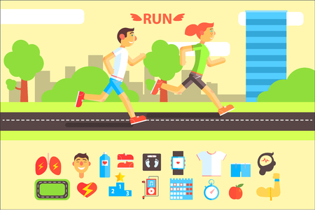 Running people, sports and physical activity equipment horizontal banners vector Illustrations Standard-Bild - 100002135