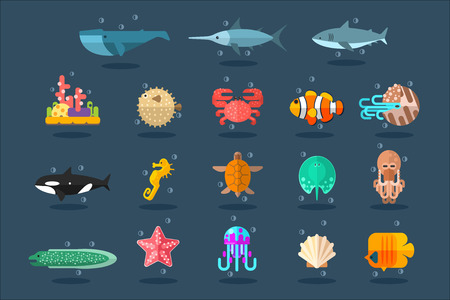 Underwater animals set, lea life vector Illustration in flat style