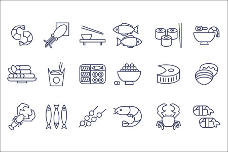 Seafood line icons set, Japanese cuisine, fish, shrimp, oysters, squid, octopus, crab, caviar, salmon vector Illustrations on a white background