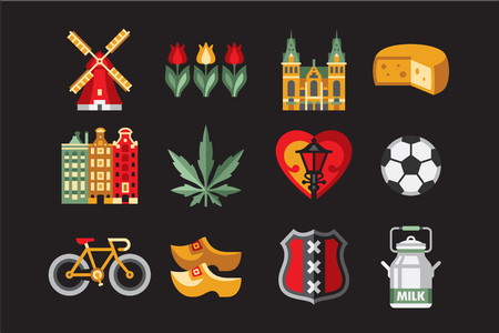 Traditional objects of Netherlands. Windmill, tulips, cheese, ball, coat of arms, buildings, street lamp, Cathedral, bicycle, shoes, can of milk Amsterdam travel symbols Set of flat vector elements