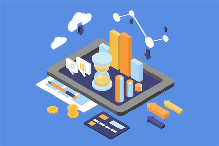 Concept of business analytics. Finance and management theme. Digital tablet with round chart, growing graph, hourglass. Web infographic. Isometric 3D flat vector design isolated on blue background. 스톡 콘텐츠 - 100000113