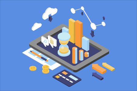 Pojęcie analityki biznesowej. Temat finansów i zarządzania. Cyfrowy tablet z okrągłym wykresem, wykresem rosnącym, klepsydrą. Infografika internetowa. Izometryczny 3d wektor płaski projekt na białym tle na niebieskim tle. Ilustracje wektorowe