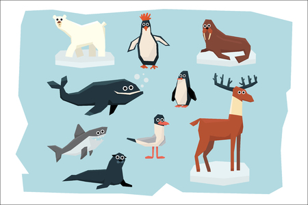 Cartoon collection of different Arctic and Antarctic animals. Polar bear, penguin, albatross, reindeer, seal, walrus, shark and whale. Colorful flat vector illustration isolated on blue background. Ilustracja