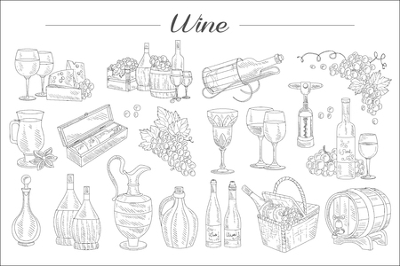 Detailed sketch of wine elements. Bottles, glasses of different shapes, barrels, picnic basket. Delicious alcoholic beverage made from grapes. Hand drawn vector design