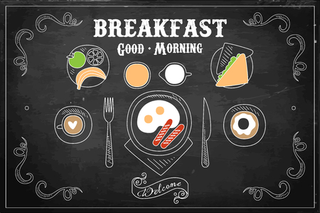 Hand drawn vector illustration of tasty breakfast on black chalkboard. Eggs with sausages, sweet donut, coffee cup, sandwich, fresh fruits, juice and jug of milk. Top view Illustration