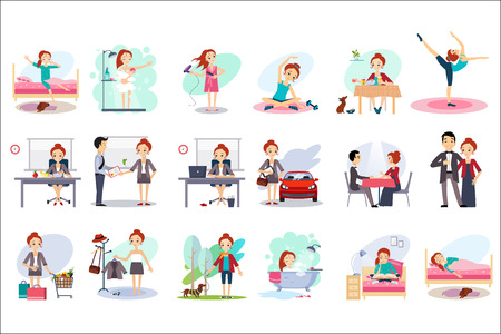 Active day of happy woman. Daily routine. Cartoon character of young pretty girl in different situations. Day time. Home and work. Colorful flat vector design Illusztráció