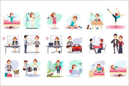 Giornata attiva della donna felice. Routine quotidiana. Personaggio dei cartoni animati di giovane bella ragazza in diverse situazioni. Tempo di giorno. Casa e lavoro. Disegno vettoriale piatto colorato Vettoriali