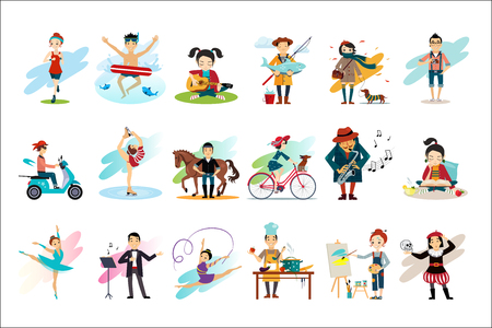 Set of people in various actions. Males and females engaged in their favorite hobbies. Active and healthy lifestyle. Cartoon characters. Colorful flat vector design Illusztráció