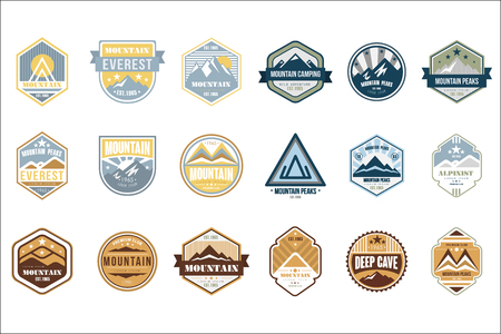 Mountain camping logo set, alpinist, mountain peaks, deep cave retro vintage style emblems and badges vector Illustrations isolated on a white background.