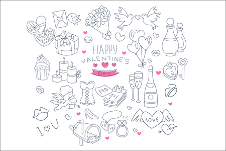 Happy Valentines Day set, hand drawn wedding and love design elements vector Illustrations isolated on a white background. 일러스트