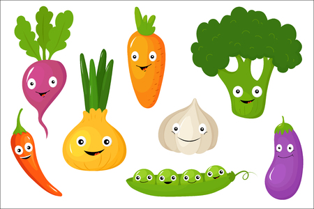Cute vegetable characters set, healthy vegetarian food vector Illustrations isolated on a white background.