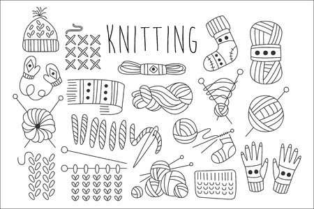Collection of icons for knitting related theme. Vectores