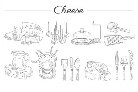 Set of sketch style cheese, kitchen accessories, delicious snacks. Gastronomy dairy product. Graphic elements for promo poster, banner or flyer. Hand drawn vector icons isolated on white background.