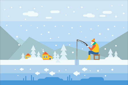 Cartoon man character fishing on frozen lake. Snowy winter day. Mountains, blue sky, houses and trees on background. Fisherman in warm clothes with fishing rod. Colorful flat vector illustration. Иллюстрация