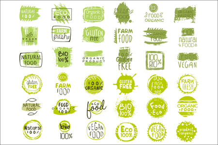 Collection of bright green stickers with text for packing natural products. Vegan eating. Organic and healthy food signs. Typography design elements. Original vector icons isolated on white background