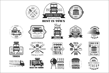 Set of vintage logos for street food. Monochrome emblems with traditional trucks, tacos, hamburgers, hot-dogs, kitchen utensils, grill, lettering. Fresh and tasty eating. Isolated vector illustration.