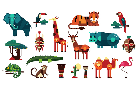 Colorful collection of different African animals, plants and drums. Wild creatures of jungle. Birds and reptiles. Ethnic drums. Icons in geometric flat style. Vector illustration isolated on white.