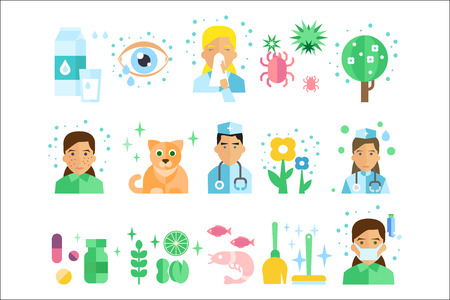 Set of icons with types of allergens dairy products, insects, blossoming plants, fish, animal  fur, food, medicine, people with symptoms, doctors. Flat vector design isolated on white background.