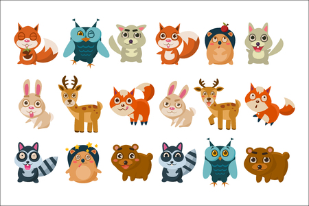Colorful collection of different forest animals. Funny cartoon characters. Graphic elements for children's book, mobile game, sticker. Wildlife concept. Flat vector design isolated on white background Illustration