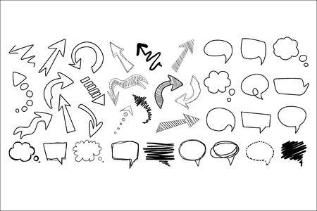 Comic collection of arrows and speech bubbles of various shapes. Cartoon dialog clouds with space for messages. Doodles sketch for your design. Hand drawn vector images isolated on white background.