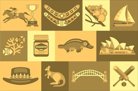 Set of Australian travel icons. Boomerang, koalas, vegemite, bridge, kangaroo, fishes, opera house, hat, platypus, cricket bats and ball, sail boat, horse race and trophy Isolated flat vector design Vettoriali